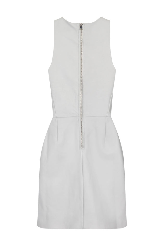 White Leather Dress DRS39