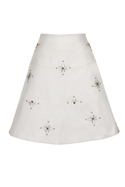 White Beaded Cotton A Line Midi Skirt SKT18