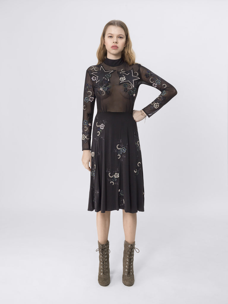 Mesh & Jersey Midi Dress With Applique Stars and beading DRS101