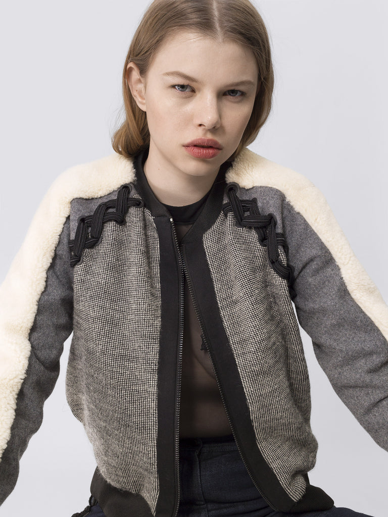 Wool Bomber With Shearling Sleeves JKT66