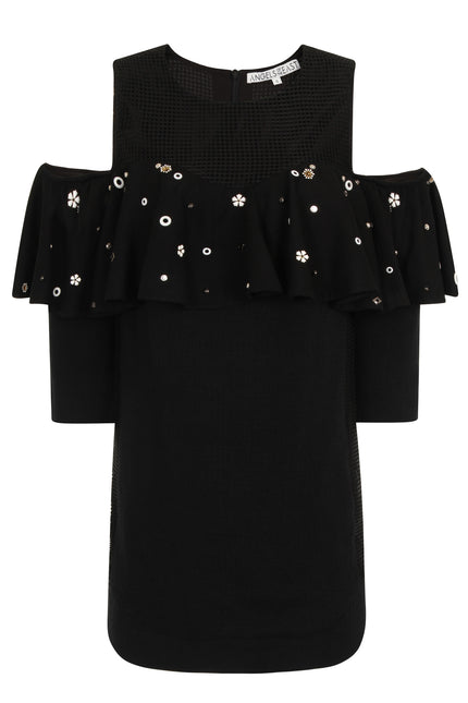 Off shoulder flower studded dress DRSA32