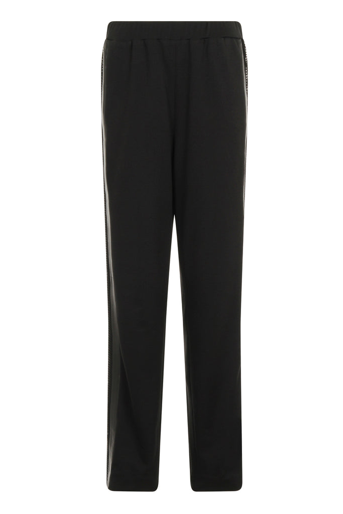 Jersey wide leg track pants with mesh & leather panels TRSA19-1