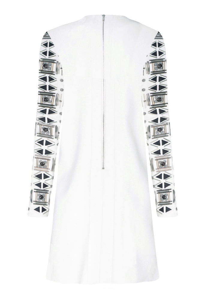 White Embellished Sleeve Dress DRS47