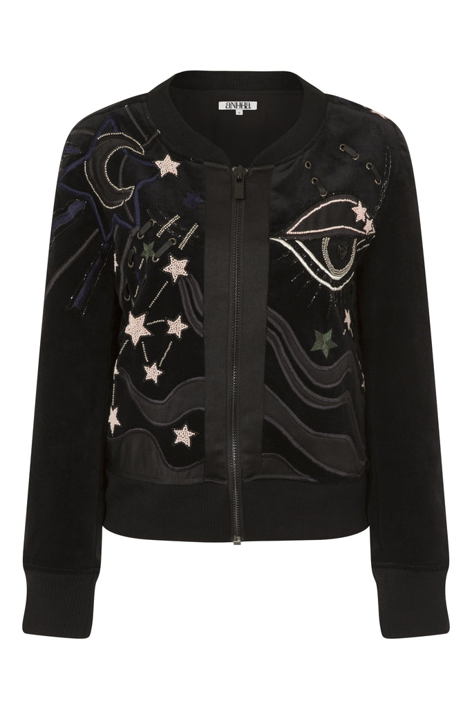 Velvet Bomber With Star & Eye Embellishment JKT63