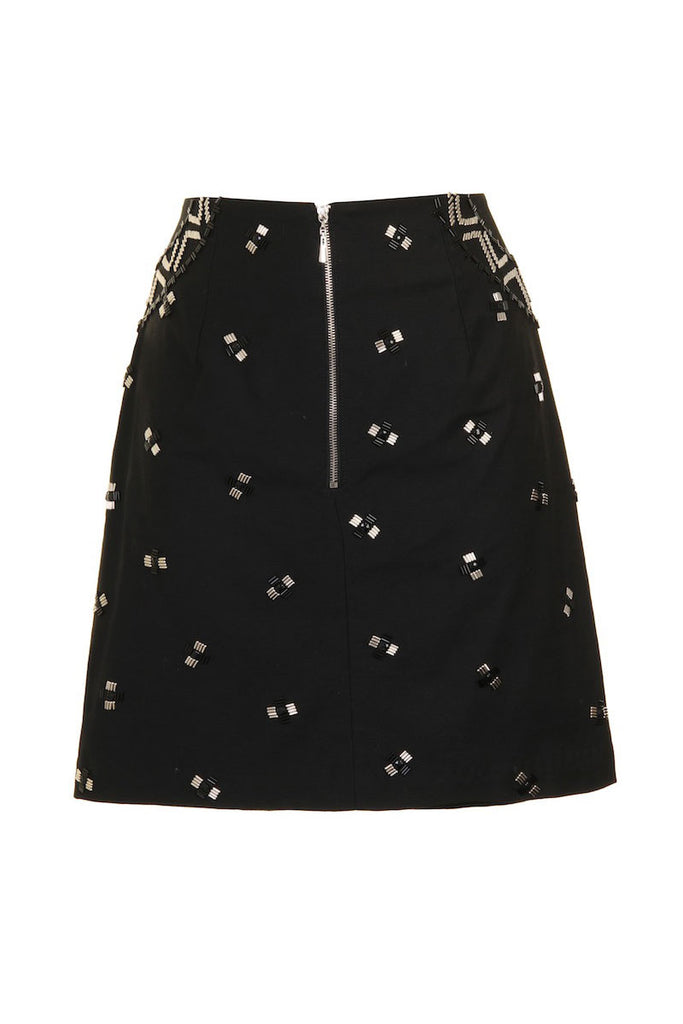 Black mini beaded skirt SKT03