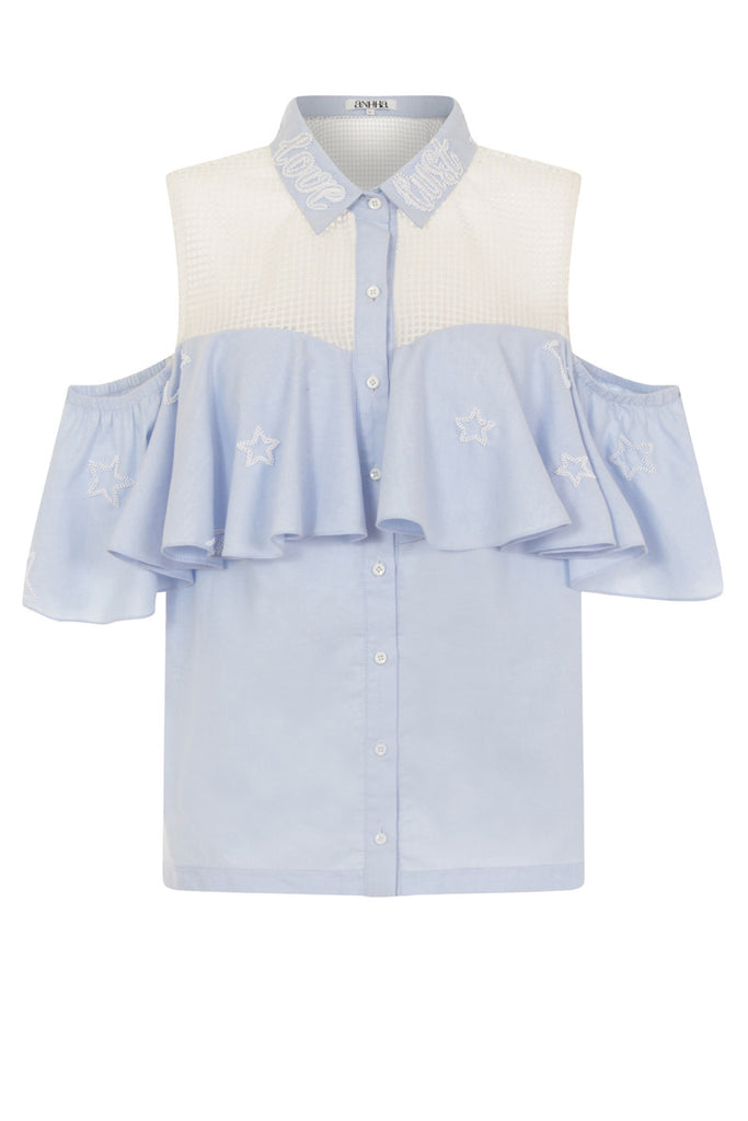 Love Lust Mesh Frill Shirt TOP122