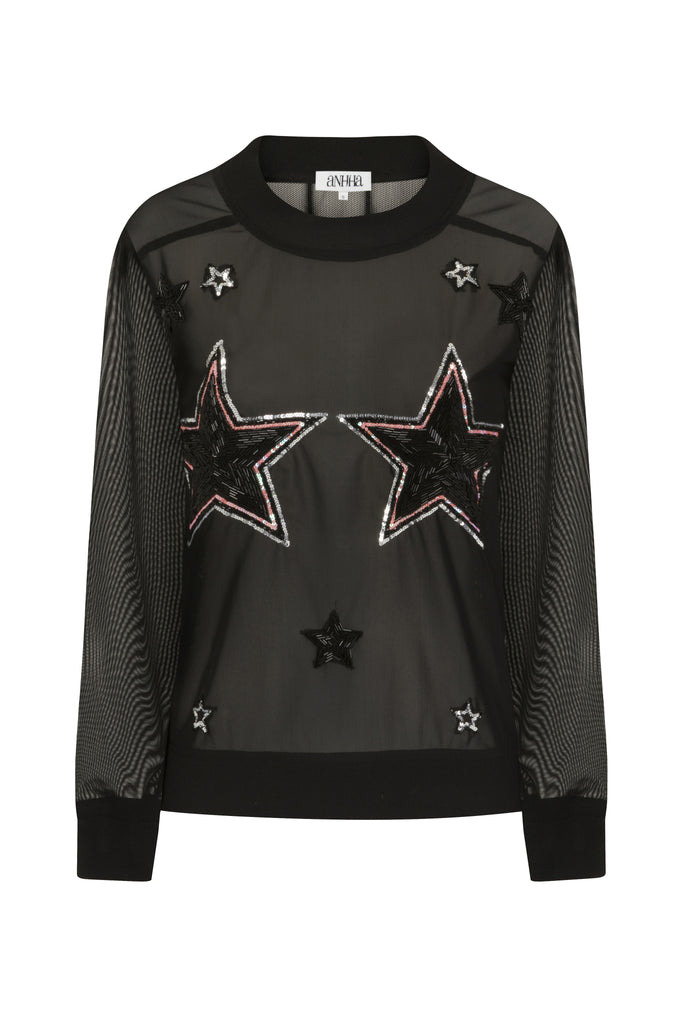 Mesh Top With Beaded Star Embellishment TOP134