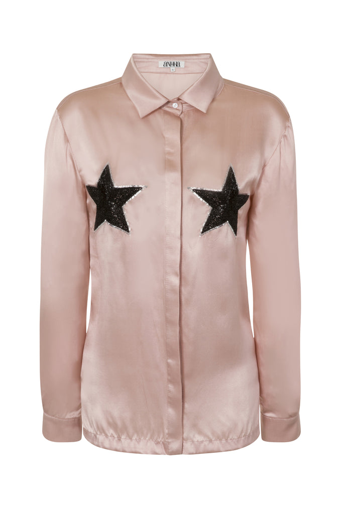 Satin Shirt With Star Embellishment TOP143