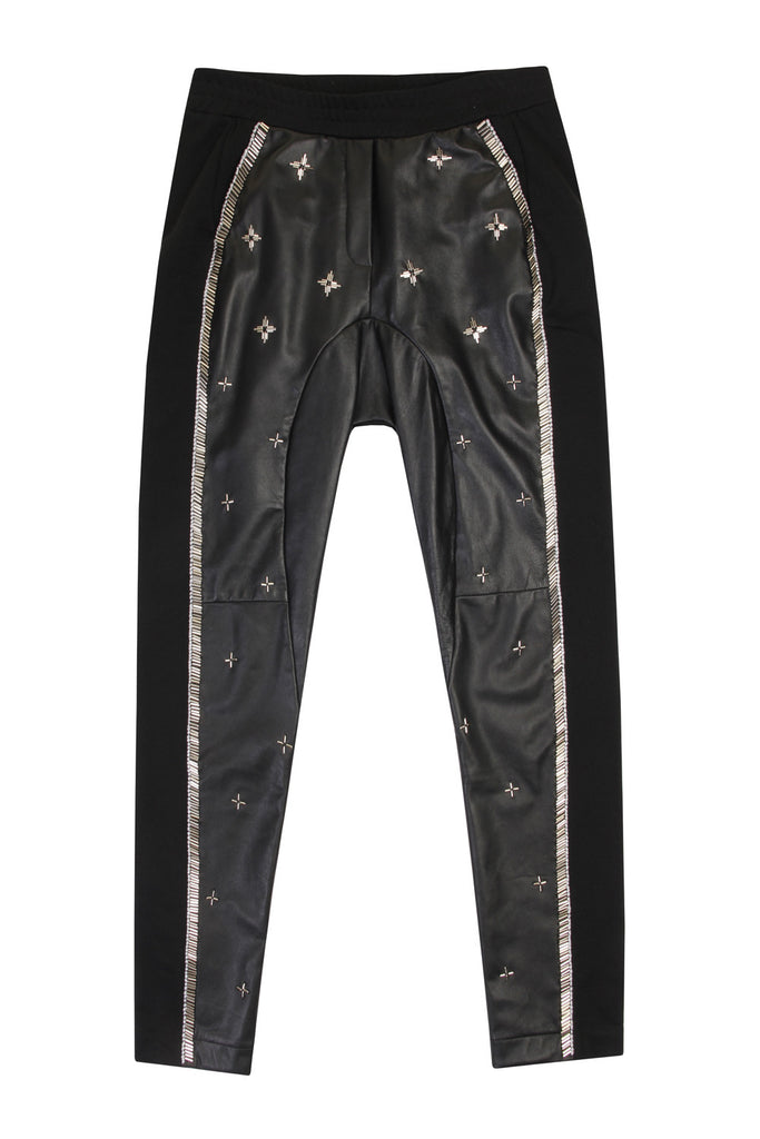 Leather Beaded Trousers TRS11