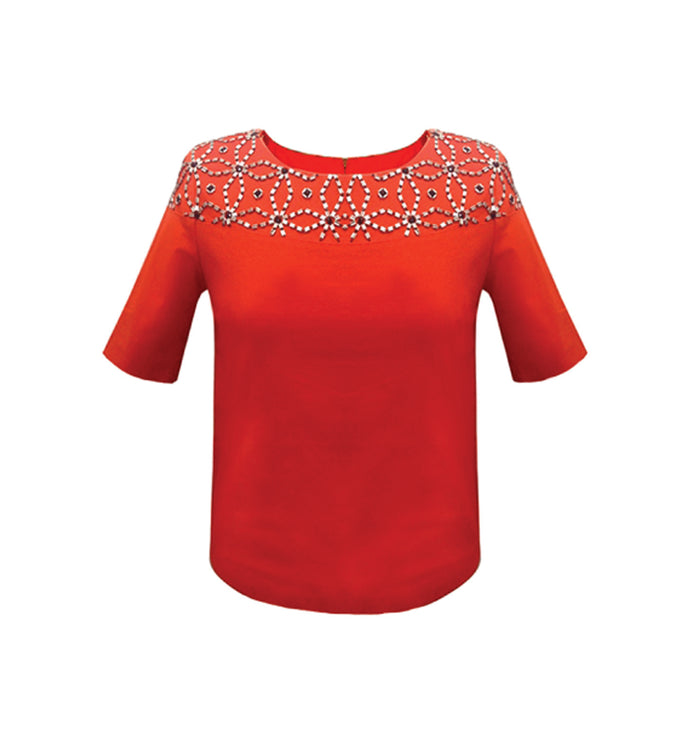 Orange shell top with beading on shoulder TOP28