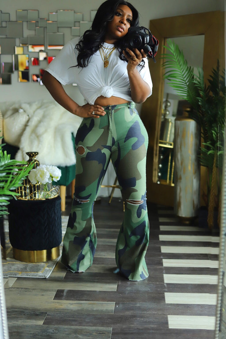 Camo Flaunt Wide Leg Pants - HDM Spring Runway 2020 (Pre-Order)