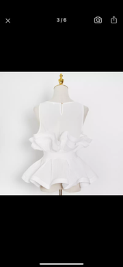 "SM Private Label "" Dolled up "" peplum top Pre order ships 5/31-6/10"