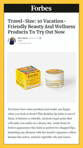 Forbes touted Kadalys Banana Lip Balm as. product to try