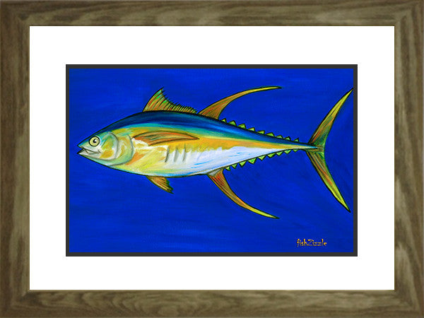 Yellowfin Tuna Fish Art Framed - FishZizzle