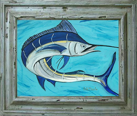 Blue Marlin Fish Tile Art - FishZizzle