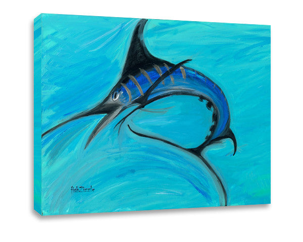Blue Marlin Fish Canvas Art - FishZizzle