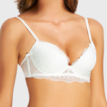 Load image into Gallery viewer, Jasmine White Plunge Push Up Bra