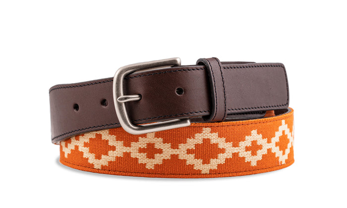 Custom Talampaya Chocolate Leather Woven Belt