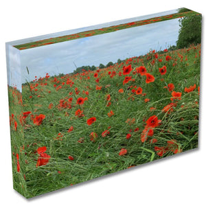 """Poppy Meadow "" Personalised A6 Acrylic Photo Block"