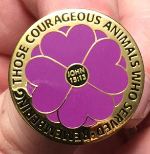 """Remembering the Animals 365 Days "" Purple Poppy Badge"