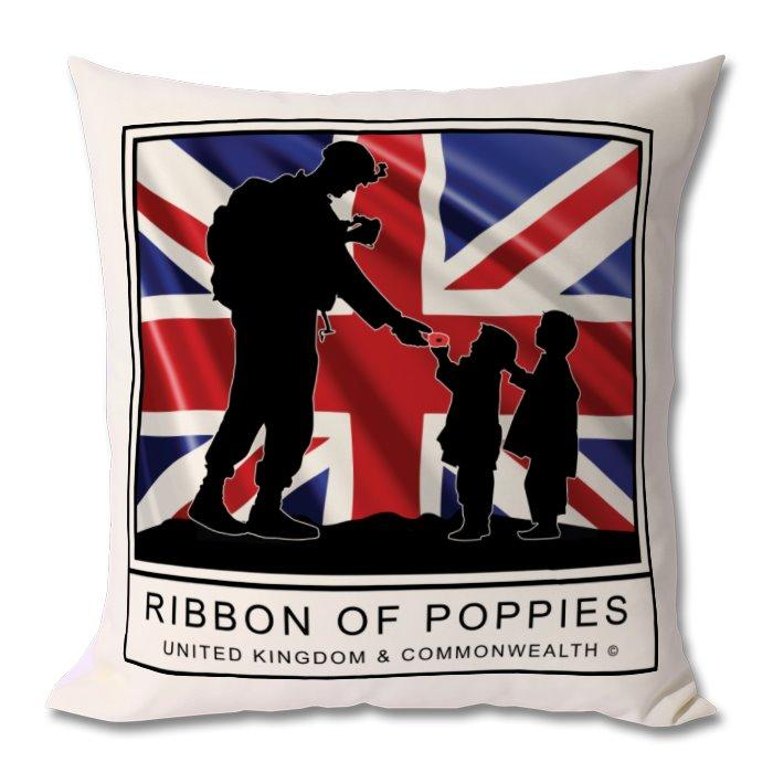 Ribbon Of Poppies UK & Commonwealth Cushion