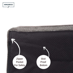 Kangaroo Dog Bed skid proof bottom with zip compartment