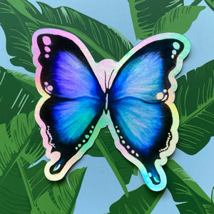 Load image into Gallery viewer, Holographic Blue Butterfly Sticker