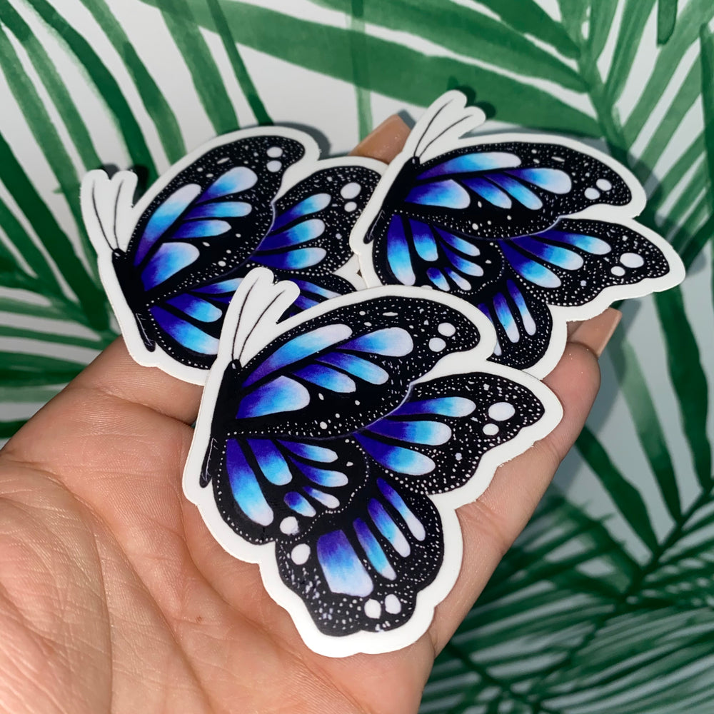 Ombre Blue Butterfly Sticker