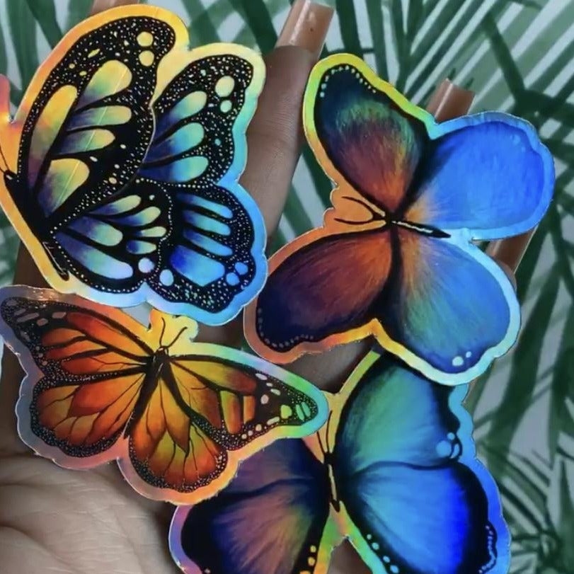 Holographic Purple Butterfly Sticker