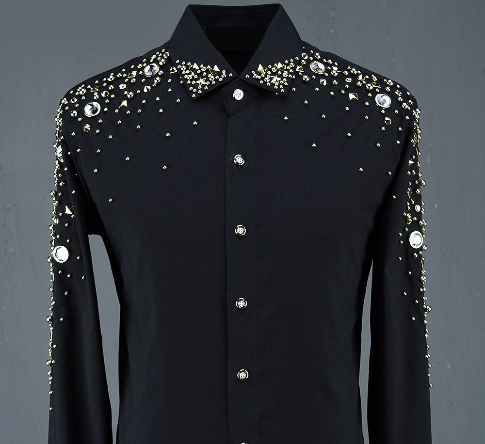 LUXURY LONG SLEEVE SHIRT WITH GOLD STONES - Lefashionclothes