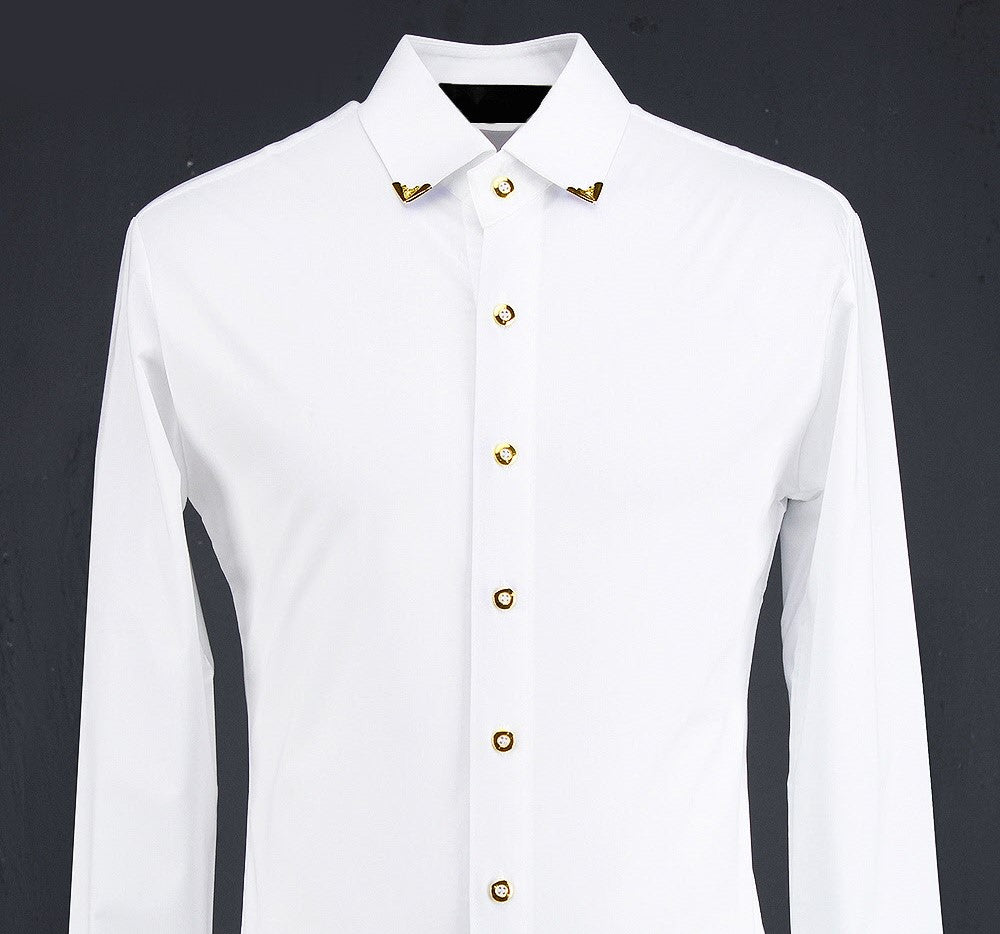 GOLD BUTTONED WHITE SHIRT - Lefashionclothes