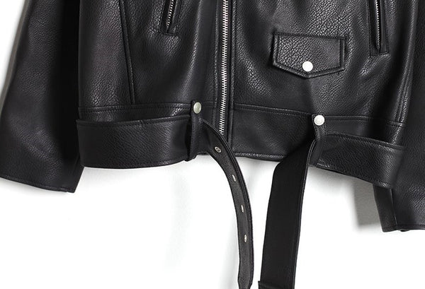 OVERFIT BELT LEATHER RIDER JACKET - Lefashionclothes