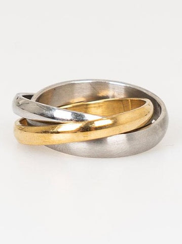 CROSSED SILVER AND GOLDEN RING - Lefashionclothes