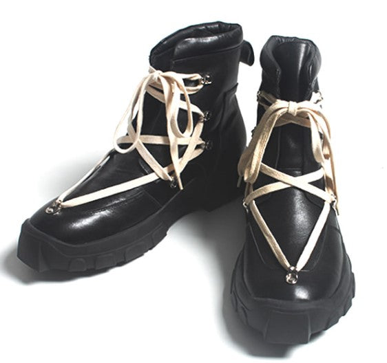 AVANT-GARDE FASHION BLACK LACE UP BOOTS - Lefashionclothes
