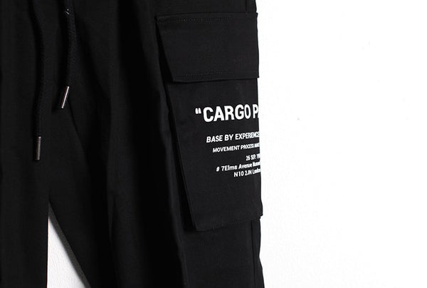 SIDE LETTERING BIG POCKET CARGO PANTS - Lefashionclothes