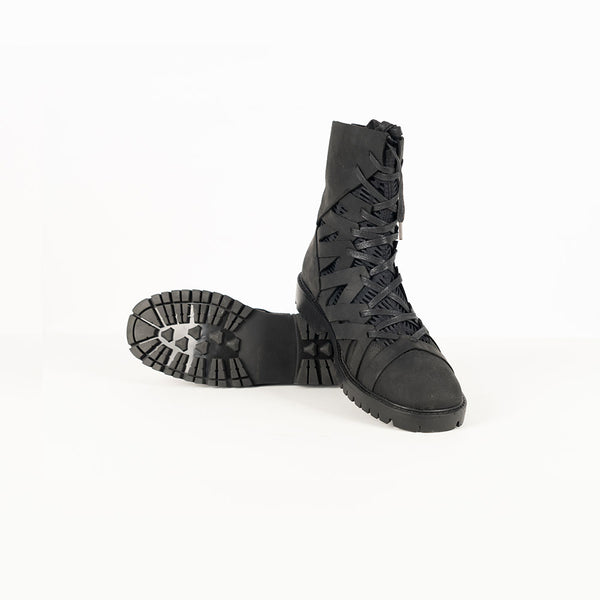 LAYERED ZIG-ZAG PATTERN STYLISH LEATHER HIGH-TOP BOOTS - Lefashionclothes