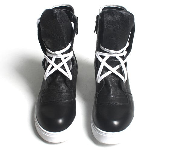 HIGH TOP LEATHER SNEAKERS - Lefashionclothes