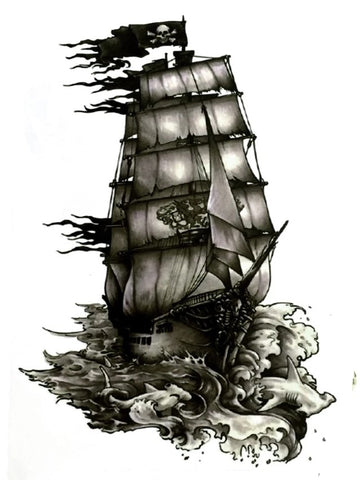 BLACK SHIP TEMPORARY TATTOO