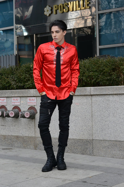 INTENSE RED SHIRT WITH JEWELRY - Lefashionclothes