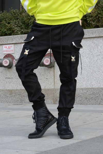 EYE-CATCHING STRAP ZIP CARGO JOGGER PANTS - Lefashionclothes