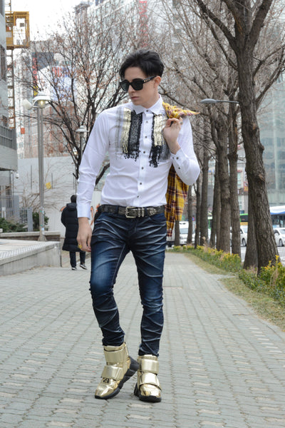 LUXURY MELTED MATERIALS WHITE SHIRT - Lefashionclothes
