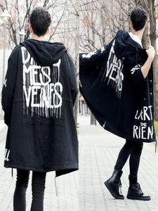 FASHION WHITE LETTERING HOOD COAT - Lefashionclothes
