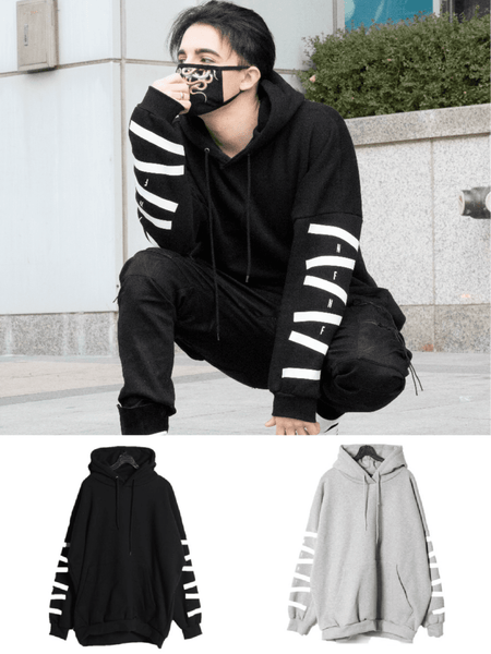 STRIPE PATTERN OVERSIZED STREET CASUAL HOODIE - Lefashionclothes