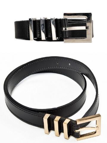 METALIC TRIPLE BUCKLE LEATHER BELT - Lefashionclothes