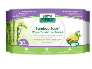 Aleva Naturals Bamboo Baby Wipes, Travel Size, 30 Counts
