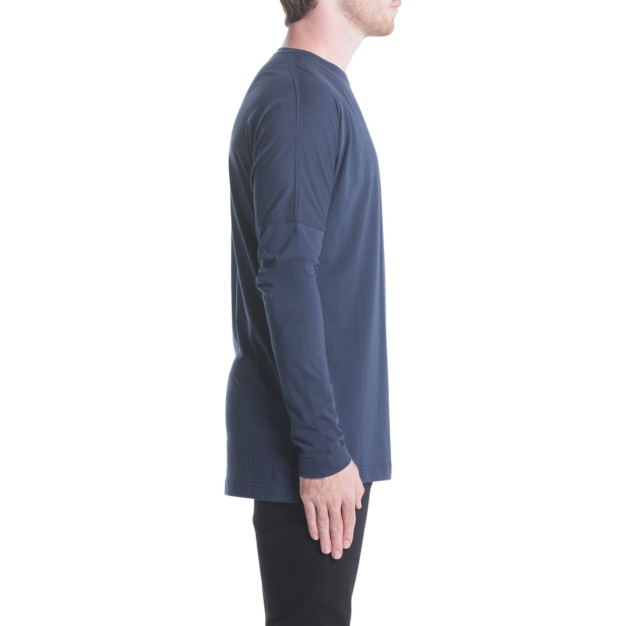 Index L/S Drop Shoulder Tee - Navy