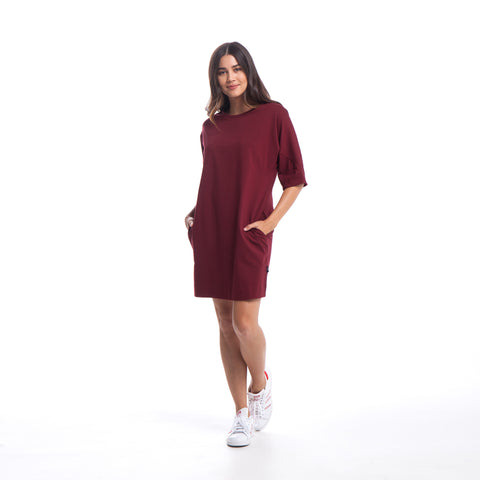 Bell - Shirt Dress - Maroon