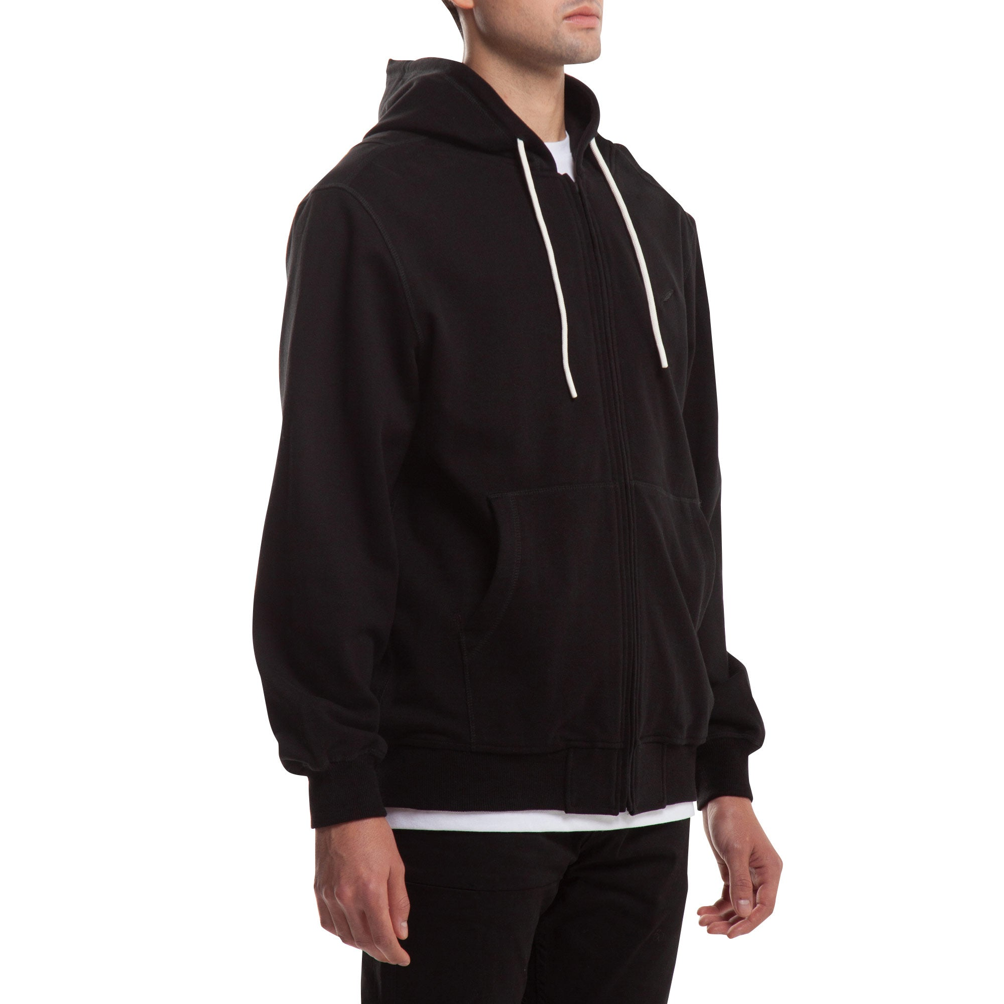Index Zip Fleece Hoodie - Black