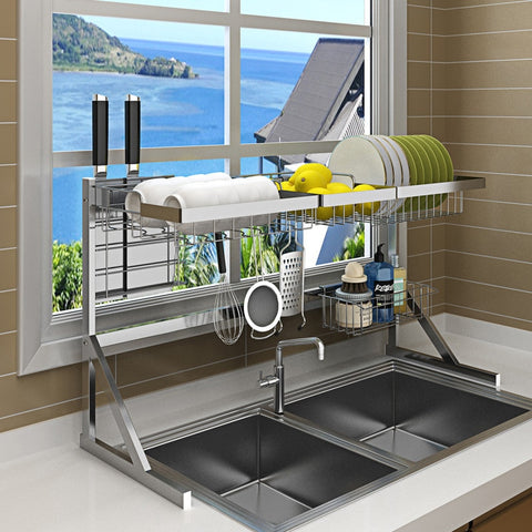 Over Sink Dish Drying Rack Kitchen Drainer Shelf for Dishes Bowl Stainless Steel Storage Counter Organizer Over Sink Space Saver
