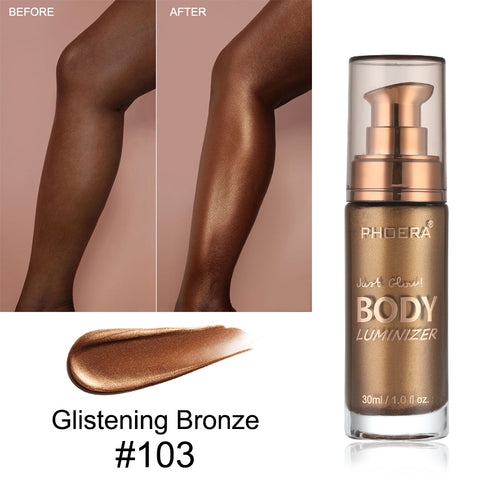 PHOERA Body Luminizer Shimmer Corrective Highlighter Foundation Professional for face and Body Makeup Liquid Body Melanin TSLM1